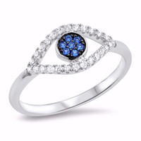 Sterling Silver CZ Simulated Blue Sapphire Simulated Diamond Evil Eye Ring