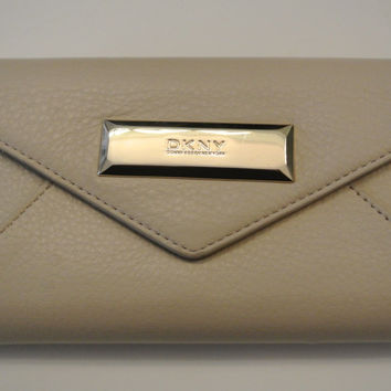 DKNY Sand Color Genuine Saffiano Leather Trifold Snap Closing Wallet