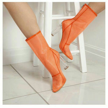 Kcenid Fashion designer summer shoes mesh ankle boots pointed toe zip booties women sexy transparent perspex high heels shoes