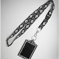 Aztec Black and White Badge ID Holder and Lanyard - Spencer's