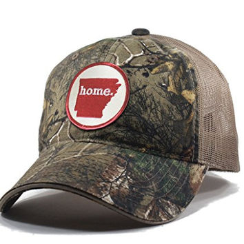 Homeland Tees Men's Arkansas Home State Realtree Camo Trucker Hat - Red