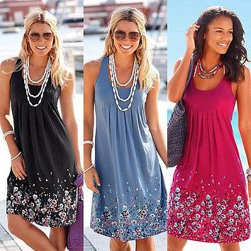 Flower Printing Dresses For Women O-Neck Empire Casual Summer Soft Comfortable Drawings Beach Dresses