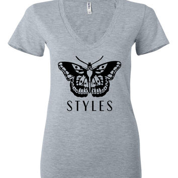 "Harry Styles ""Butterfly Tattoo / Styles"" Women's V-Neck T-Shirt"