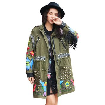 Women's Army Green Rivets Patchwork Jacket