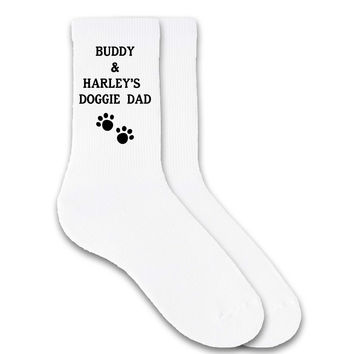 Doggie Dad Socks Personalized with Dog's Names - Men's Crew Socks - PERSONALIZED