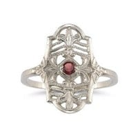 Vintage Fleur-de-Lis Ruby Ring in .925 Sterling Silver