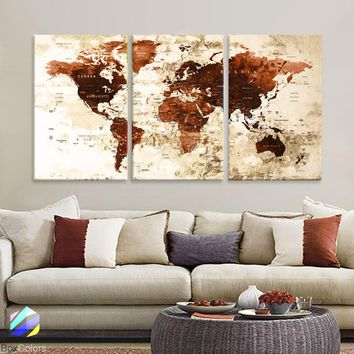 "LARGE 30""x 60"" 3panels 30x20 Ea Art Canvas Print Watercolor Brown Old Map World Push Pin Travel M1822"