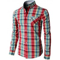 Doublju Men's Casual Button Down Shirts Of Plaid Check Patterned (KMTSTL0115)