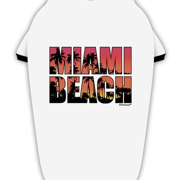 Miami Beach - Sunset Palm Trees Stylish Cotton Dog Shirt by TooLoud