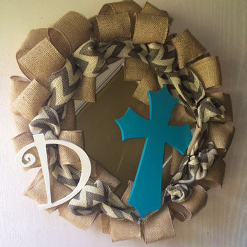 Burlap wreath with chevron burlap ribbon, cross and initial