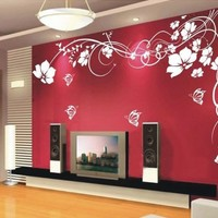Fuloon Large Vine Flower Butterfly Wall stickers / Wall decal--White 200CM*145CM