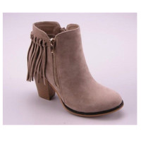 Fall Fashion Must Have! Fringe Accented Stone Bootie Boots