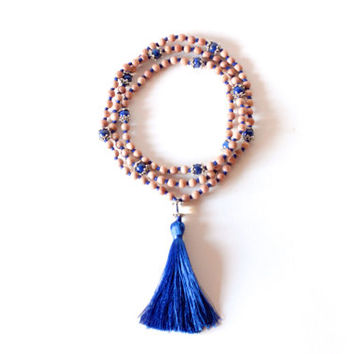 Third Eye Chakra - 108 Hand-Knotted Rosewood Beads, Lapis Lazuli, Clear Quartz, and Silk Tassel
