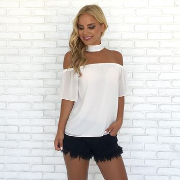 Pure Bliss Choker Blouse In White
