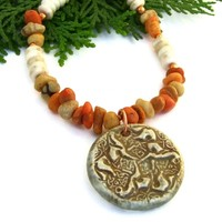 Celtic Knot Horse Pendant Necklace, Apple Coral Bone Handmade Artisan Jewelry