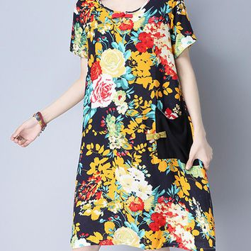 Streetstyle  Casual Round Neck Patchwork Floral Printed Cotton/Linen Shift Dress