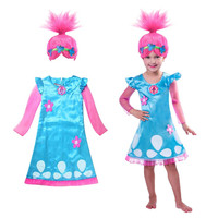 Troll costume Dresses Pattern Children Costumes For Girls Carnival Kids clothing Summer Girl Dress disfraz Trolls Party Clothes
