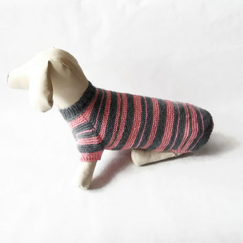 Dog Clothes dachshund Dog Sweater Warm Hand Knitting gray and pink wool