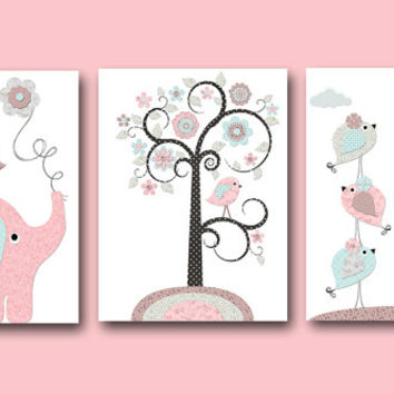 Pink Grey Blue Brown Baby Girl Wall Decor Canvas Nursery Print Canvas Elephant Giraffe Decor Baby Girl Wall Art Nursery Wall Decor set of 3