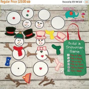 On Sale 15% Off Build a snowman dice game embroidered, christmas, holiday toy, puzzle, felt board, building toy, learning, activity, travel