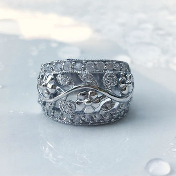 Vintage CZ Silver Filigree Ring, Vintage Floral Daisy Ring in Sterling Silver, Blossom Flower Jewelry