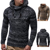 Men's Stylish Knitted Pullover Hooded Sweater