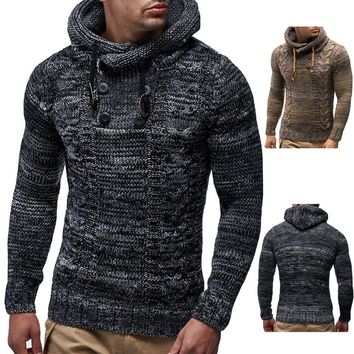 Men's Winter Pullover Knitted Cardigan Coat Hooded Sweater Jacket Outwear