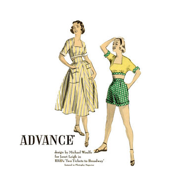 50s Playsuit 1950s Vintage Sewing Pattern Bust 28 31 Advance 5850 Hollywood Starlet, Janet Leigh, Midrif Crop Tops, Cuffed Shorts, Skirts