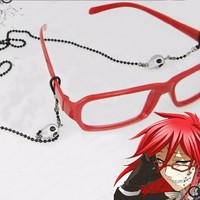 Best Quality! Kuroshitsuji cos Fashion Styled Black Butler Grell  Red Cosplay Costumes  Red Glasses + Chain