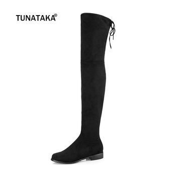 Thigh High Boots Female Winter Boots Women Over the Knee Boots Flat Stretch Sexy Fashion Shoes 2017 Black Dark Gray Wine Brown
