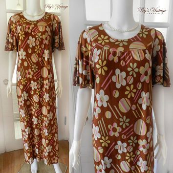 Retro 60s PSYCHEDELIC Flower Groovy Dress / Floral Print Short Bat Sleeve Dress / MOD Chic Full Length Dress
