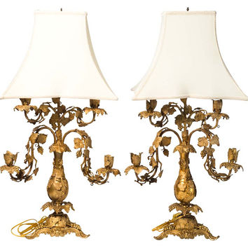 French Bronze Dore Lamps,    Pair