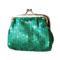 Hot Fashion Lady Clutch Sequined Hasp coins bag Green