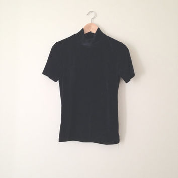 VINTAGE 90s grunge black velvet turtleneck mock neck short sleeved top