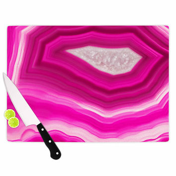 "Cafelab ""Bold Pink Agate "" Pink White Cutting Board"