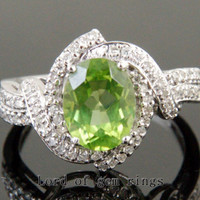 Oval Peridot Engagement Ring Pave Diamond Wedding 14K White Gold 7x9mm