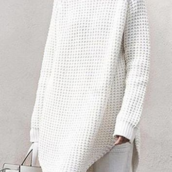 White High Neck Chunky Longline Sweater