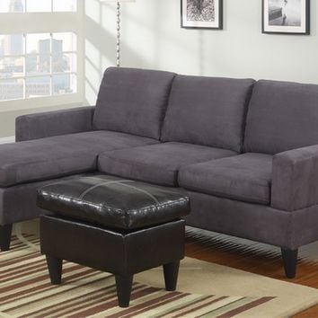 A.M.B. Furniture & Design :: Living room furniture :: Sofas and Sets :: Sectional Sofas :: 3 pc Grey microfiber apartment size sectional sofa with reversible chaise and faux leather ottoman