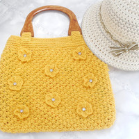 Crochet purse flowers Eco Summer fashion Yellow knitted tote bag Beach resort bohemian handbag