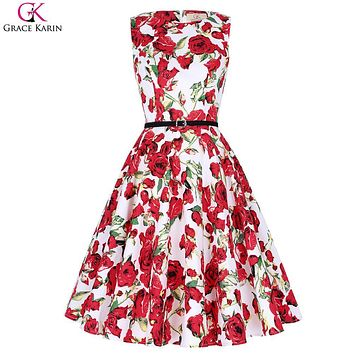 Flower Print Short Bridesmaid Dresses Formal Summer 2017 Polka Dot Pin Up Swing Grace Karin Robe Vintage Rockabilly Dress Party