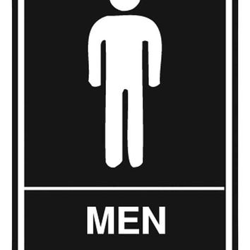 "Men's Room Sign, Ada Approved Braille 6"" X 9"""