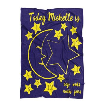 Baby Milestone Blanket - Moon and Stars - Personalized Baby Blanket - Track Growth and Age - New Mom Baby Shower Gift - Blue and Yellow