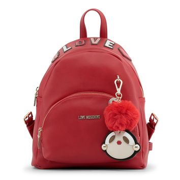 Love Moschino Red Padded Leather Backpack