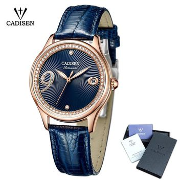 CADISEN Casual Women Automatic Mechanical Genuine Leather Watch