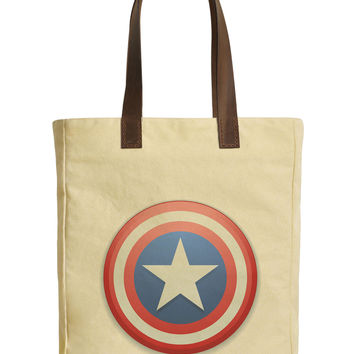 Usa Star Button Beige Printed Canvas Tote Bags Leather Handles WAS_30