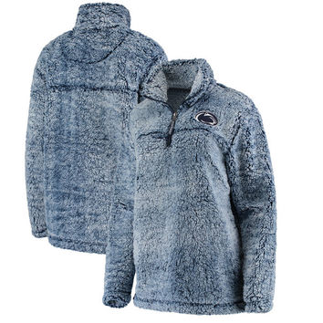 Women's Gray Penn State Nittany Lions Sherpa Super Soft Quarter-Zip Pullover Jacket