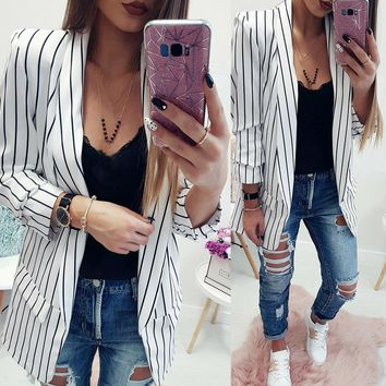 Women Ladies Long Sleeve Striped Stylish Duster Blazer Jacket Coat