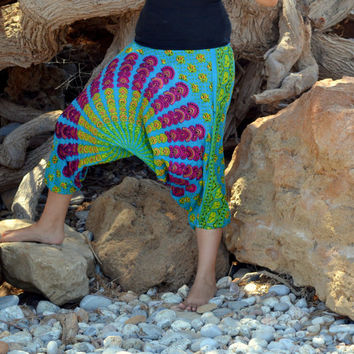 Dont Worry be Hippy....Indian Print Harem Pants in BRIGHT BLUE