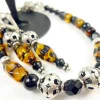 Animal Print Glass Beaded Bracelet Earrings Brown Sterling