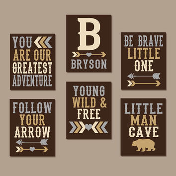 WOODLAND QUOTE Wall Art, CANVAS or Prints, Greatest Adventure, Young Wild Free, Follow Arrow, Man Cave, Boy Tribal Nursery Artwork, Set of 6